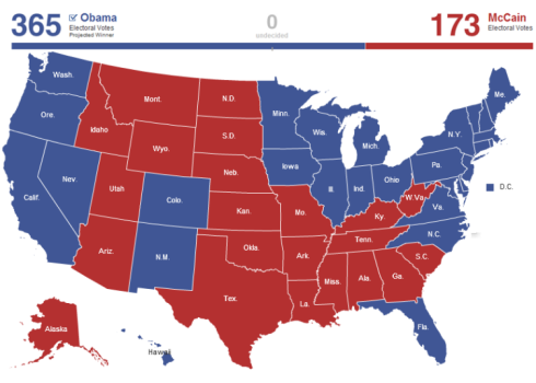 Actual 2008 Presidential election results.